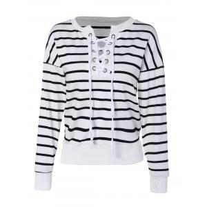 Lace Up Striped Drop Shoulder Sweatshirt