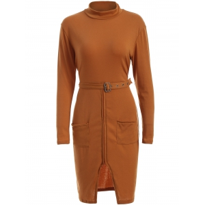 High Neck Long Sleeve Belted Slit Sheath Dress
