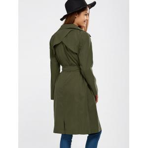 Lapel Wrap Back Slit Long Trench Coat - ARMY GREEN 2XL