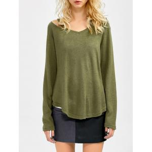 Cut Out V Neck Sweater - Army Green - M