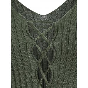 V Neck Lace Up Ribbed Jumper - GREEN ONE SIZE