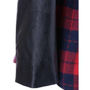 PU Leather Trim Plaid Coat -