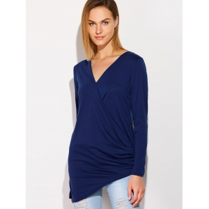 V Neck Long Sleeve Draped T-Shirt - DEEP BLUE XL