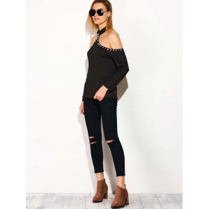 Cold Shoulder Backless Halter T-Shirt with Rhinestones - BLACK XL