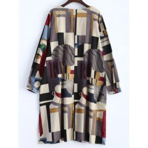 Geometry Patchwork Print Casual Dress - OFF-WHITE 2XL