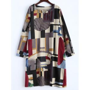 Geometry Patchwork Print Casual Dress