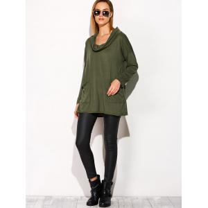 Buttons Drop Shoulder Cowl Neck T-Shirt - ARMY GREEN XL