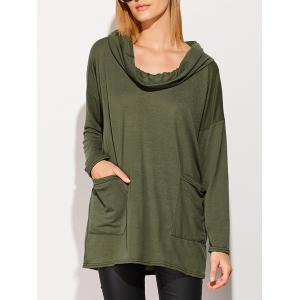Buttons Drop Shoulder Cowl Neck T-Shirt