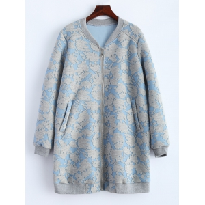 Flower Pattern Pockets Long Bomber Jacket