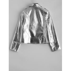 Faux Leather Metallic Short Jacket -