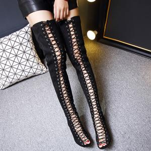 Peep Toe Lace Up Stiletto Heel Thigh Boots -