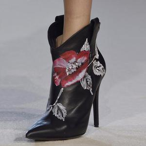 Stiletto Heel Flower Painted Boots -