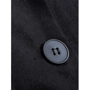Lapel Two Button Pocket Design Long Coat - BLACK 3XL
