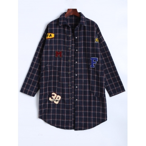 Plaid Patch Design Shirt