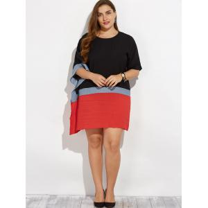 Plus Size Batwing Sleeve Contrast Dress - BLACK ONE SIZE