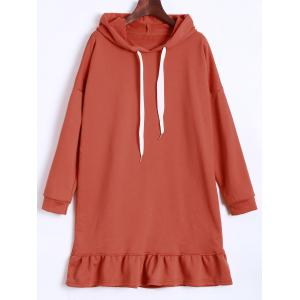 Hooded Drawstring Flounce Dress