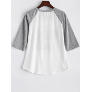 Raglan Sleeve Graphic Panle Tee -