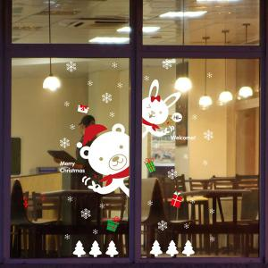 Cartoon DIY Bear Rabbit Window Decor Christmas Wall Stickers - WHITE