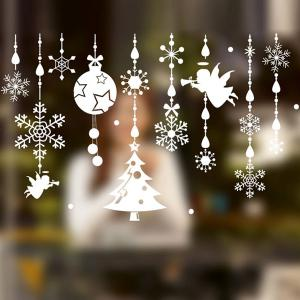 Removable DIY Pendants Christmas Window Wall Stickers - WHITE