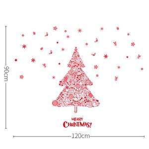 Removable DIY Home Decor Christmas Tree Wall Stickers - RED