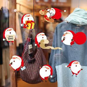 Merry Christmas DIY Removable Window Cabinet Wall Stickers - RED/WHITE