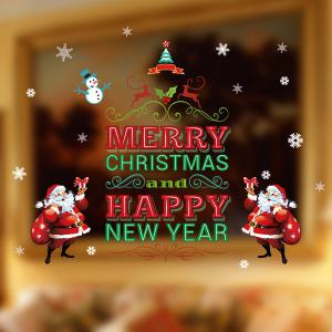 Happy New Year Letter Christmas DIY Removable Wall Stickers - Red And Green