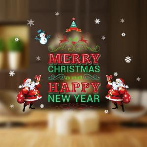 Happy New Year Letter Christmas DIY Removable Wall Stickers -