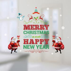Happy New Year Letter Christmas DIY Removable Wall Stickers - RED/GREEN