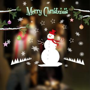 Removable DIY Snowman Pattern Christmas Wall Stickers - WHITE
