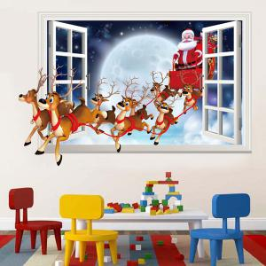 3D Faux Window Santa Flying Christmas Wall Stickers For Kids Room