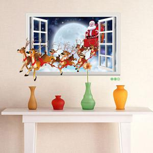 ... 3D Faux Window Santa Flying Christmas Wall Stickers For Kids Room ... Part 71