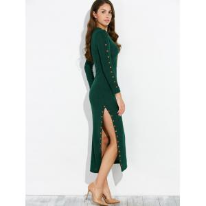 Buttoned Ribbed Side Slit Dress -