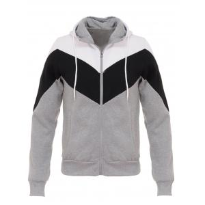 Hooded Color Block Splicing Zip Up Flocking Hoodie