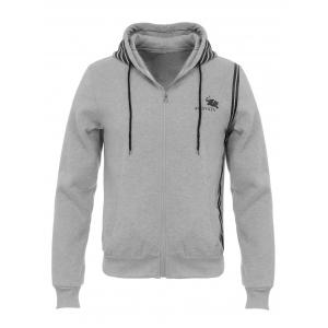 Hooded Stripe Design Flocking Zip Up Hoodie