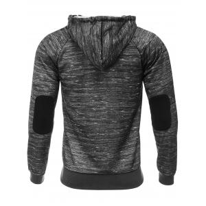 Hooded Elbow Patch Zipper Design Flocking Hoodie -