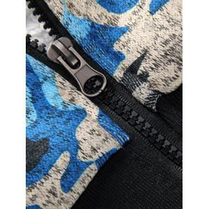 Camouflage Zip Up Flocking Hoodie and Pants Twinset - BLUE 3XL