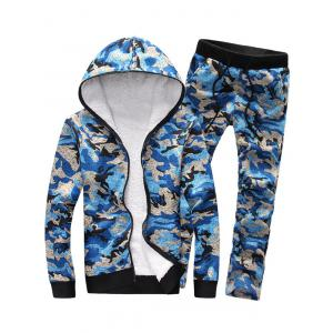 Camouflage Zip Up Flocking Hoodie and Pants Twinset - Blue - M