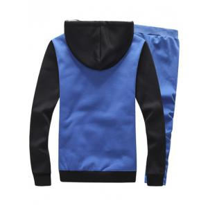 Color Block Plus Size Zip Up Flocking Hoodie and Pants Twinset -