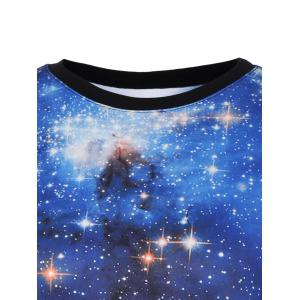 Striped 3D Galaxy Long Sweatshirt - BLUE ONE SIZE