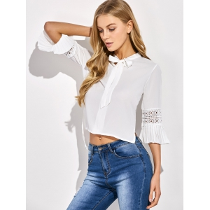 Cropped Flare Sleeve Bowknot Blouse - WHITE ONE SIZE