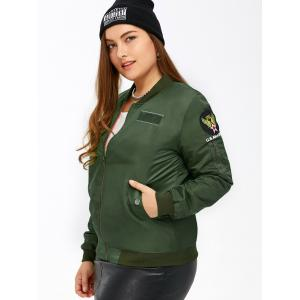 Plus Size Patched Bomber Jacket -