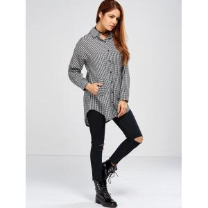 Plaid High Low Shirt with Bowknot -