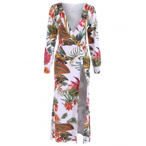 Plunge Long Sleeve Hawaiian Printed Maxi Dress