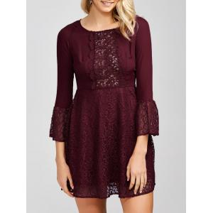 High Waist Short Dress with Lace Panel