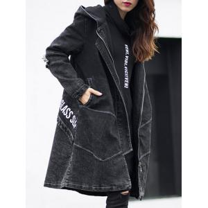 Dark Wash Long Denim Coat Jacket With Hooded - Black - Xl