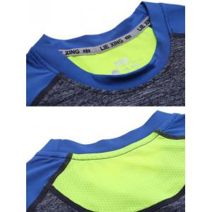 Color Block Spliced Quick Dry Raglan Sleeve Fitness T-Shirt - GRAY/BLUE 2XL