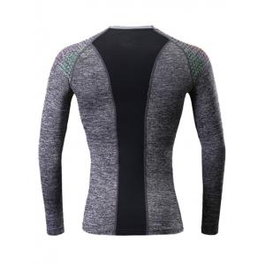 Colorful Square Print Splicing Quick Dry Raglan Sleeve Fitness T-Shirt - GRAY 2XL