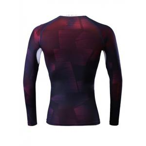 Ombre Geometric Printed Quick Dry Raglan Sleeve Fitness T-Shirt - DEEP PURPLE 2XL