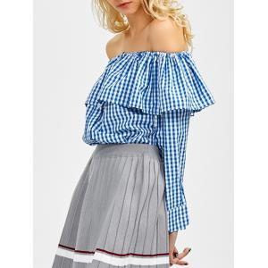 Off The Shoulder Gingham Blouse
