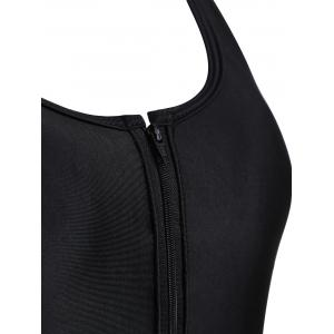 Backless Zipper One Piece Tight Swimsuit - BLACK XL